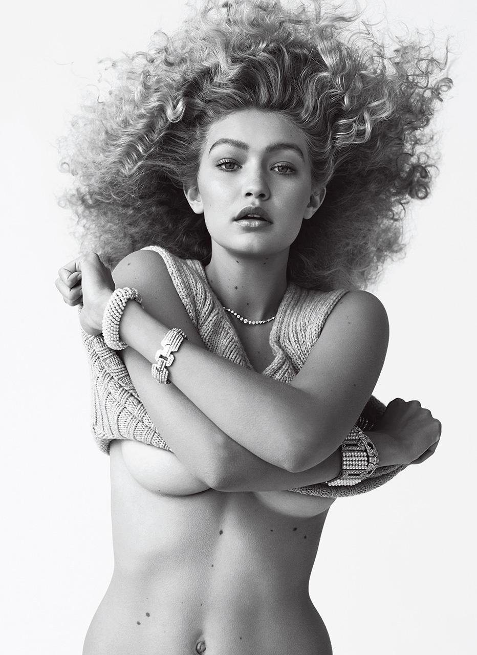 Gigi Hadid natural tits for V Magazine