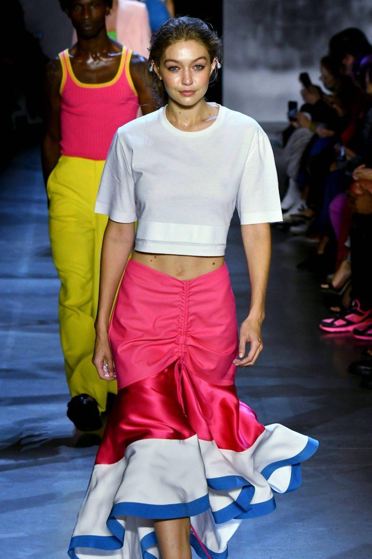 Gigi Hadid see through shirt
