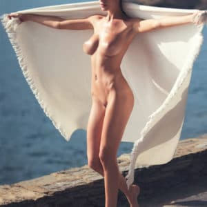 beauty alejandra guilmant totally naked with towel on the ocean
