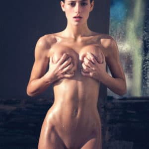 mexican model alejandra guilmant grabbing her tits in playboy