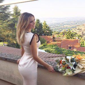 italian reporter diletta leotta perky ass in white dress
