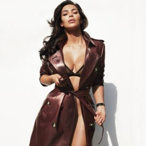 gq magazine kim kardashian models in latex jacket