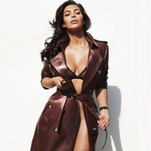 gq magazine kim kardashian models in latex jacket