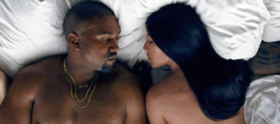 Kanye West and Kim K in bed
