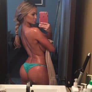gorgeous lindsey pelas topless taking a selfie and showing her bare ass cheeks