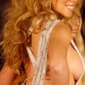 hot star mariah carey wears provocative top and shows her bare side tits