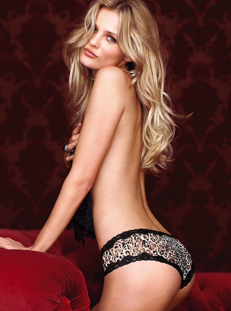 Model Edita Vilkeviciute topless in leopard underwear