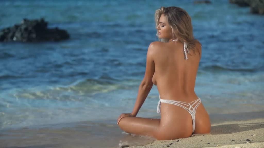 SI video Kate Upton ass white thong bikini topless