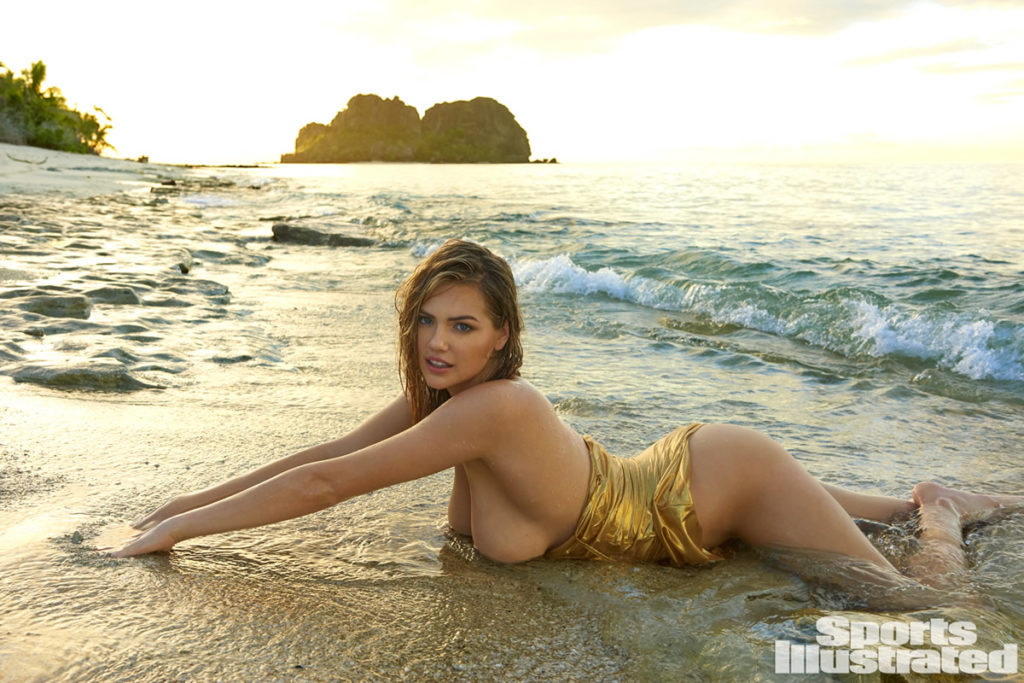 Kate Upton SI Feb 2017 boobs on sand
