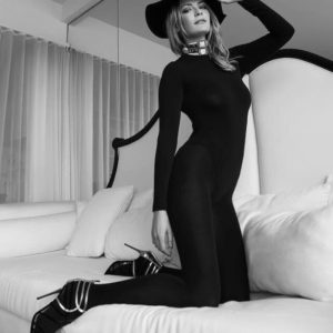 Mischa Barton on knees black outfit