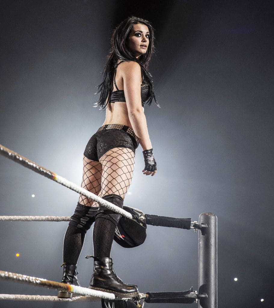WWE pic of Paige on top of ropes with ass out