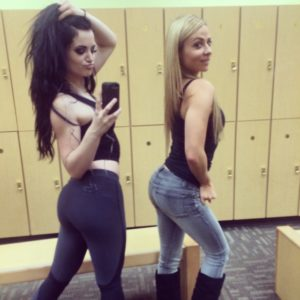 booty selfie of paige wwe and her blonde friend