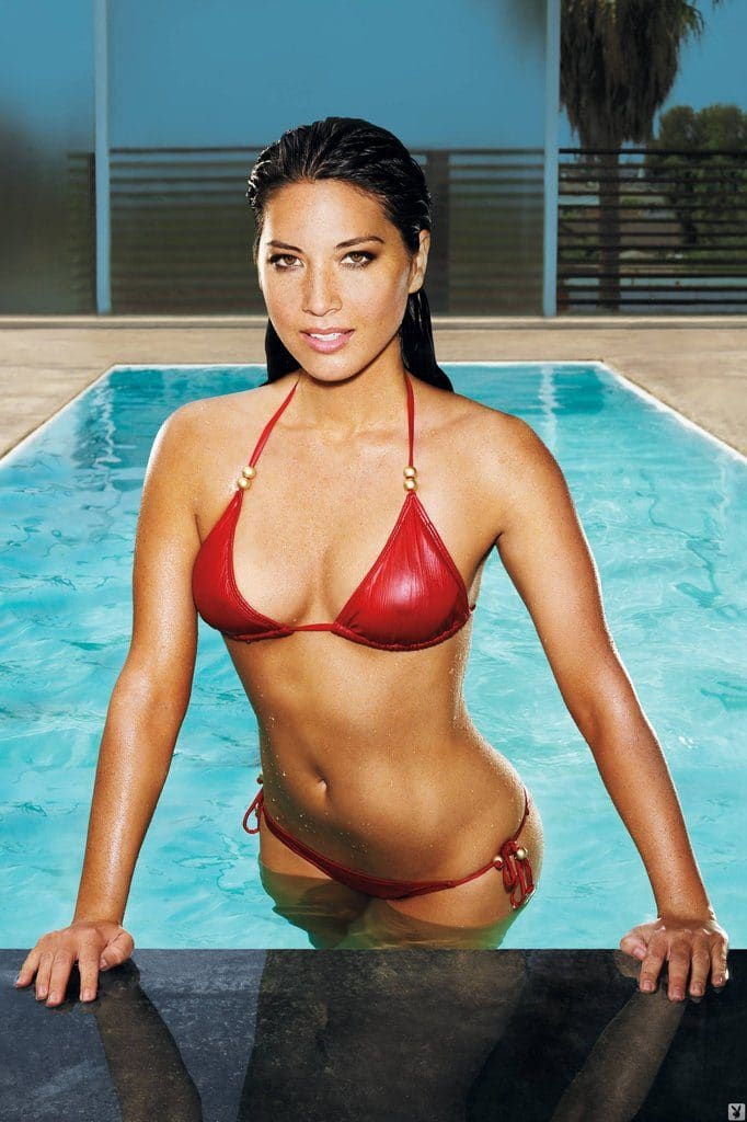 olivia munn in shiny red bikini getting out of pool wet