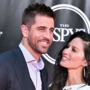 nfl football player aaron rodgers with gf olivia munn