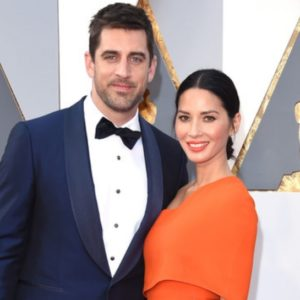 olivia munn and aaron rodgers at awards ceremony