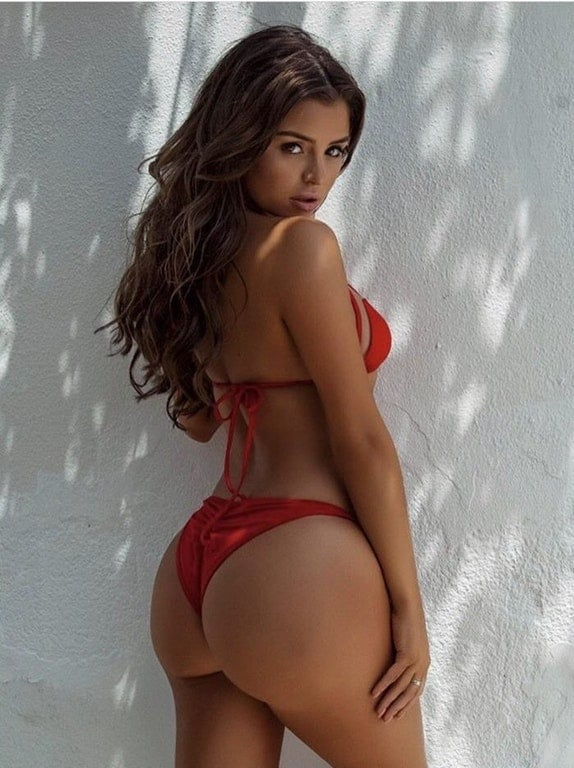 Demi Rose in red bikini thong