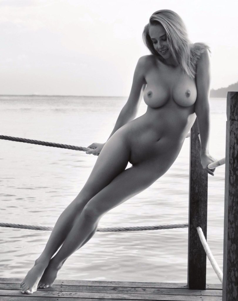 Genevieve Morton black and white photo of her unclothed