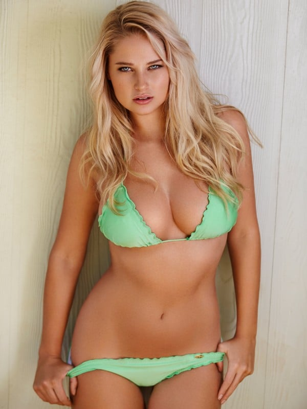 Genevieve Morton in bright lime green bikini