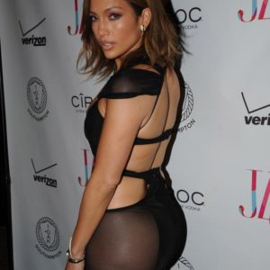 Jennifer Lopez in a see through dress on her 46th birthday