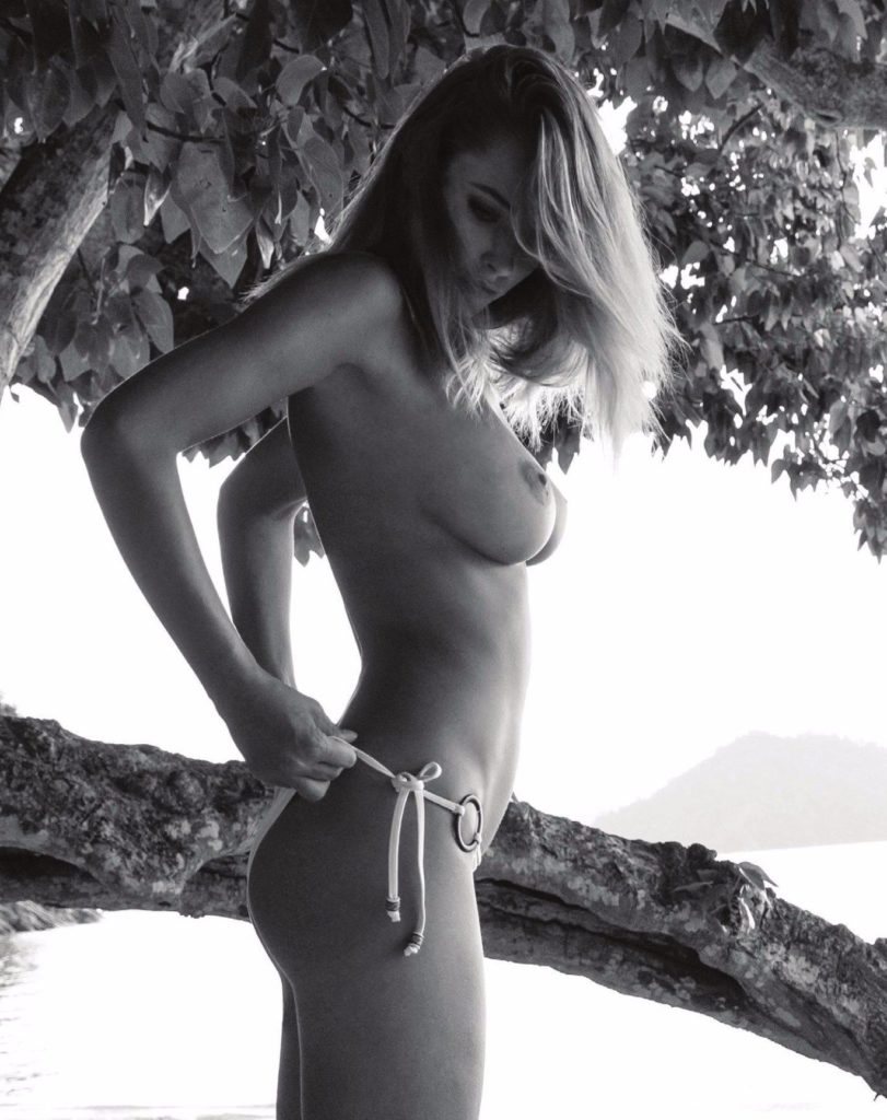 Treats Magazine black and white photoshoot of Genevieve Morton in bikini topless