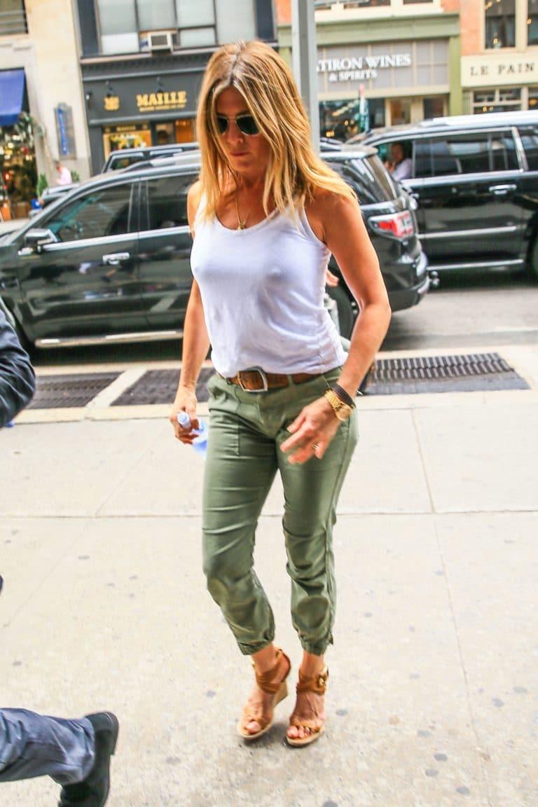 Jennifer Aniston puffy nipples white tank