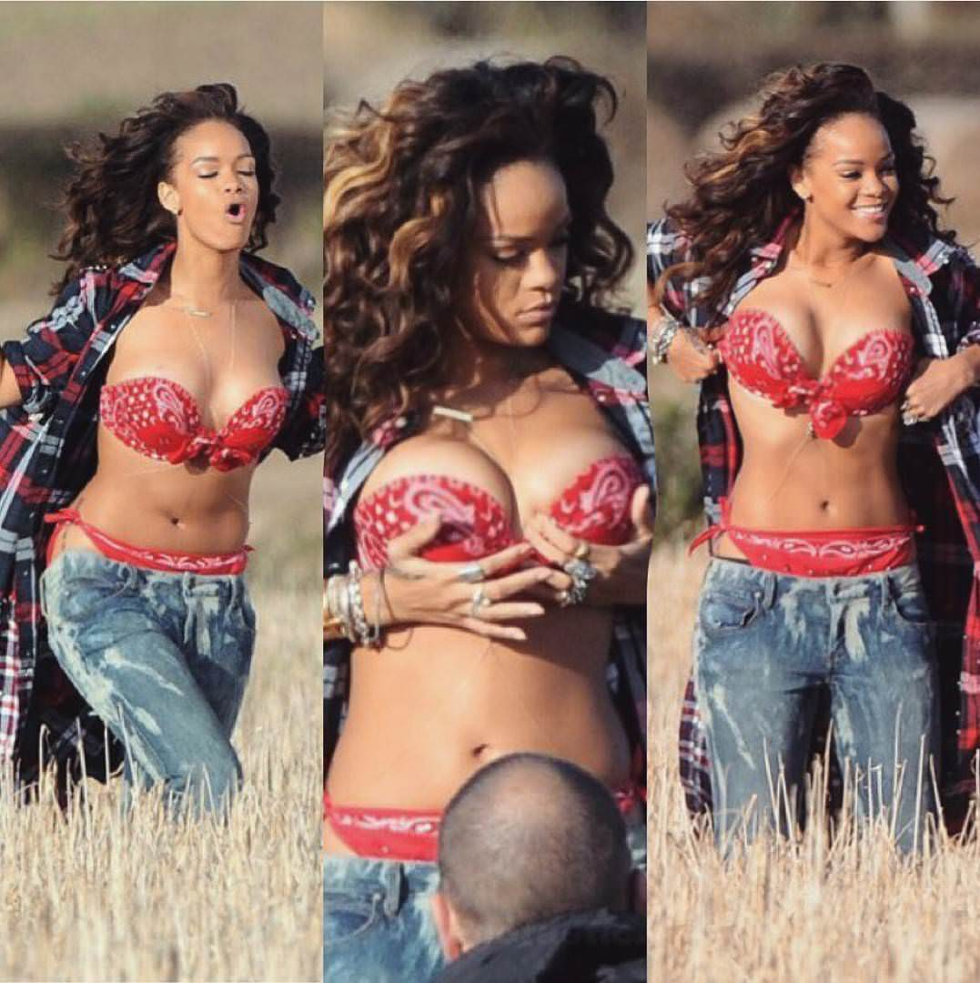 Rihanna grabbing her breasts