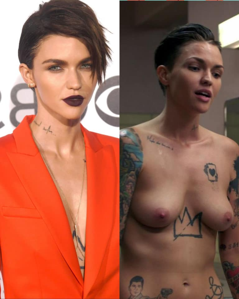 Ruby Rose topless on off